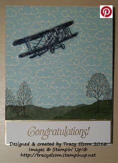 Congratulations card using the FREE Sky Is The Limit Stamp Set from the Stampin' Up! 2016 Sale-A-Bration Brochure.  http://tracyelsom.stampinup.net