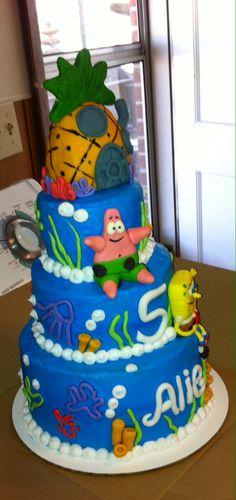 Spongebob cake for tre 5th birthday