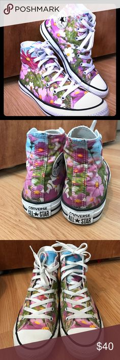 Converse Chuck Taylor All star Wild flower Sneaker Converse High top graphic printed Wild flower sneaker. woman's size 8 or men's size 6. Worn less than 10 times. There a little too small for me. Converse Shoes Sneakers