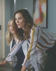 Carina's stripe pleated cuff blouse on Grey's Anatomy.  Outfit Details: https://wornontv.net/79718/ #Grey'sAnatomy