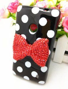 Amazon.com: White Cute 3D Bling Red Bow Dot Pattern Case Cover For Nokia Lumia 520 (Black): Cell Phones & Accessories