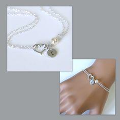 Custom Bridesmaid Bracelet Heart Bracelet, Bridesmaid Gift, Sterling Silver Heart and Swarovski Pearl Bracelet, Personalized Bridesmaid Gift