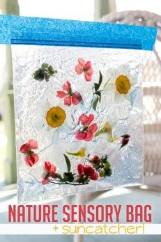 Sensory bags are easy and fast to make, gives the kids something to explore, and they're entertaining for toddlers! This nature sensory bag is no exception.