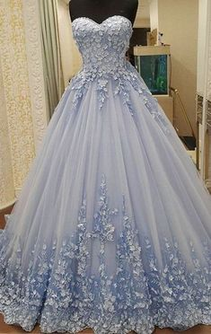 Simple Prom Dresses, appliques ball gowns prom dresses lace up prom dresses blue prom dresses quinceanera dresses sweet 16 dresses engagement prom dresses LBridal Ball Gowns Prom, A Line Prom Dresses, Formal Evening Dresses, Ball Dresses, Light Blue Quinceanera Dresses, Party Dresses, Evening Gowns, Formal Prom, 15 Dresses