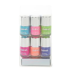 <P>Add a bright splash of color to your fingertips and toes with this set of nail polish. Includes 6 bright shades: blue, pink, green, fuchsia, coral and purple.</P><UL><LI>.17 fl. oz. each <LI>This item is only available in-store for our Canadian customers.<LI><B>This item is not available for our customers in California. If purchased, this item will be removed from your order.</B> </LI></UL>