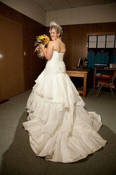 Maggie Sottero Jenna Wedding Dress, birdcage veil, sunflower wedding bouquet