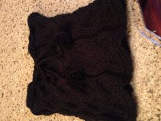 Black drawstring cowl I made for my boss's birthday. Pattern by sweaterbabe.