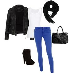 White tank under black leather jacket, cobalt blue skinny jeans tucked into black ankle boots, topped with a black bag and scarf