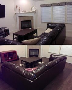 """Family room before & after with Aberdeen Garden Oak! """"Awesome product. Very easy to install - makes the room look bigger."""" – Frank, TX"""