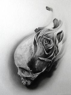 | Skull Tattoo Design, Skull Design, Skull Tattoos, Rose Tattoos, Body Art Tattoos, Sleeve Tattoos, Tattoo Designs, Tattoo Ideas, Tattoo Femeninos