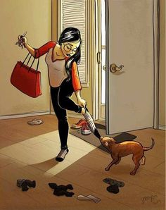 """his-shining-tears: """" Living With The Pet. Me And My Dog, Girl And Dog, Alone Art, Living With Dogs, Amor Animal, Dog Illustration, Digital Illustration, Dog Art, Cartoon Art"""