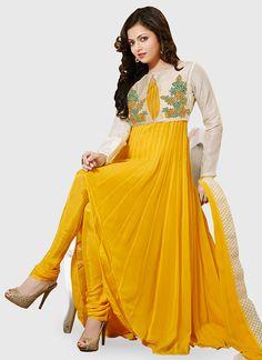 Yellow Drashti Dhami Jacket Style Kalidar Suit                                                                                                                                                      More