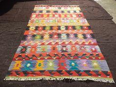 "Traditional Flat Weave Woven Kilim Rug,6,3""x10,6"" Feet 190x320 Cm Colorful Anatolian Kelim Kilim Rug,Home Living Room Floor Decor Kilim Rug."