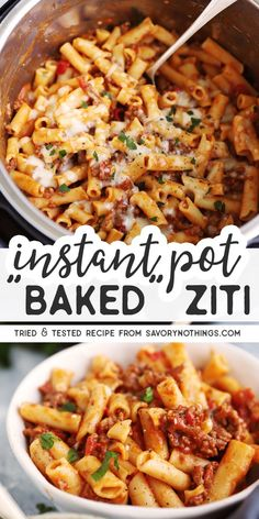"""Instant Pot """"Baked"""" Ziti Like baked ziti? Then you're going to LOVE this Instant Pot """"Baked"""" Ziti recipe. This weeknight-friendly shortcut comes together in no time at all, and tastes just as good as the classic casserole. Instant Pot Pasta Recipe, Best Instant Pot Recipe, Instant Pot Dinner Recipes, Ziti Pasta Recipe, Easy Pasta Dinner Recipes, Cheesy Pasta Recipes, Healthy Pasta Recipes, Easy Dinners, Instapot Pasta"""