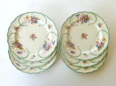 Set of 6 Antique 1930's Royal Cauldon England - Est. 1774 Ceramic Floral Dinner Plates REGO. NO. 727052 on Etsy, $39.50