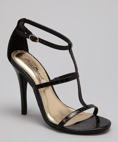 Take a look at this Black Enzo-17 Snakeskin Stiletto Sandal by Bamboo on #zulily today!