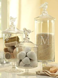 Give ordinary bathroom items like cotton balls a sense of importance by placing them in these canisters, which come in varying sizes -- #bathroomdecor #classic