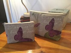Duo Papillons en lin Grande : L 30 x h 23 Petite : L20 x h16