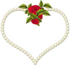 Rose Frame Clip Art   Frame Heart Pearl and a Rose Transparent clip art