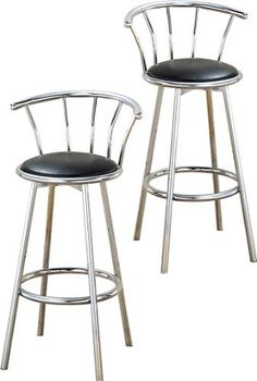 "2 24"" Chrome Counter Height Bar Stools with Back Rests and a Black Vinyl Seat by The Furniture Cove. $99.88. Back Rest & Bottom Foot Rest Ring. Black Vinyl Seat. 24"" Height. Metal Chrome Finish. Set of 2 Stools. These are new, 24"" chrome bar stools with footrests and swivel seats with a backrest! The seat is made of black vinyl cushion and are reminiscent of the old soda fountain parlors. The pads are 14"" across and the seat is 24"" tall. The entire height is 34"". Please s..."