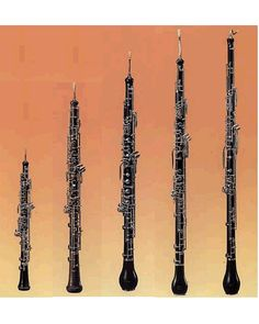 From left: piccolo oboe, oboe, oboe d'amore, English horn, bass oboe.