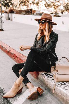 Fashion Jackson Wearing Black Leather Jacket Black Skinny Jeans Tan Sude Booties Wool Wide Brim Hat Celine Belt Bag