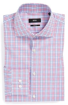 BOSS HUGO BOSS 'Miles US' Sharp Fit Plaid Dress Shirt available at #Nordstrom