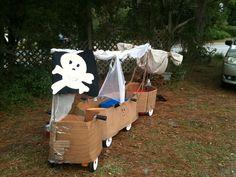 back view of my Twins choo choo wagon as a Pirate Ship for Halloween