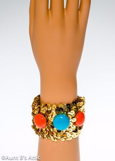 Egyptian Wristbands Gold Lame/' /& Sequin Jeweled Wrap Around Costume Accessory