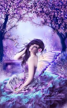 Flower Fairies come through the rainbow... By me.. W.V.L.   Faerie