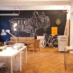 Office & Workspace:Old Flat Converted Into Highly Creative Office Space In Bratislava Slovakia Awesome Workspace Room Classic Flooring Wall . Office Furniture Design, Office Interior Design, Interior Exterior, Interior Modern, Space Interiors, Office Interiors, Office Workspace, Office Decor, Office Spaces