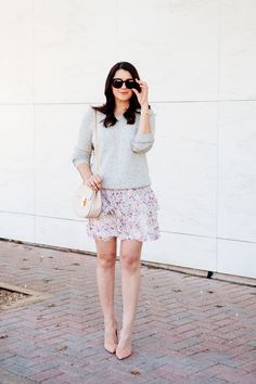Floral tiered skirt and Joie sweater by style blogger Kendi Everydyay