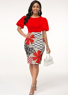 African Dresses For Women, African Fashion Dresses, African Dress Styles, Bodycon Dress With Sleeves, Dresses With Sleeves, Latest Dress For Women, Necklines For Dresses, Spandex, Girl Outfits