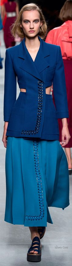 Fendi Spring 2016 RTW blue jacket women fashion outfit clothing style apparel @roressclothes closet ideas