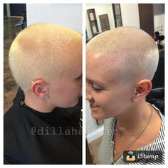 #3 guard buzz and bleach on the left. Toner and fade on the right... There's a huge difference in just a little more effort, I hope you see the difference!!! #hair #haircut #chickfade #buzzcut #shavedhead #shorthair #shorthaircut #chickswithshavedheads