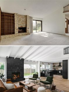 Before & After: A Dated House Got a Jaw-Dropping Modern Remodel, Is Now Totally Unrecognizable. Chase & Lauren Daniel's home reno featuring our glazed saltillo thin brick in black on the fireplace. 1970s House Renovation, Fixer Upper, 1970s Living Room, Ranch House Remodel, House Makeovers, Living Room Remodel, Home Remodeling, Facades, Outdoor Living