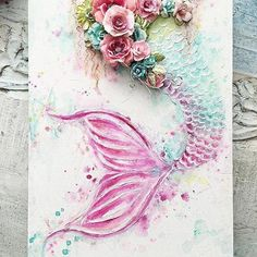 Magical mixed-media mermaid! #Repost @staceyyoungdesigns ・・・ A custom made Mermaid Tail canvas....this time with pink Sooooo pretty #mermaidtail #canvasart #primamarketing #watercolour #primaflowers #girlsroomdecor #art #mixedmedia