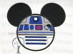 Star Wars Mickey R2D2 Head Applique Applique by RuthSewingRoom