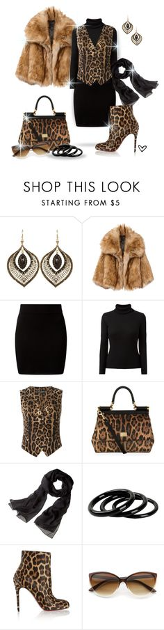 """""""~GARBO~ Faux Fur Coat ~"""" by justwanderingon ❤ liked on Polyvore featuring New Look, Dolce&Gabbana, Reed Krakoff, Furla and Christian Louboutin"""