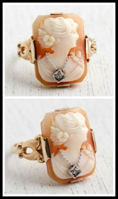 Antique 10k Gold, Diamond And Cameo Ring