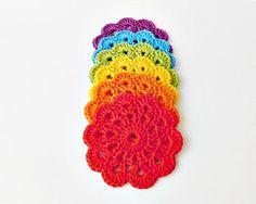 Rainbow decorations crochet coasters drink coasters crochet
