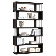You should see this Javier 5 Shelf Bookcase in Cappuccino  Silver on Daily Sales!