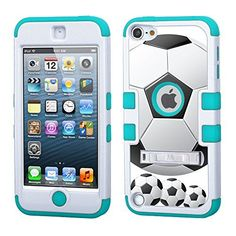 One Tough Shield ® 3-Layer Hybrid Case (White/Teal) with Kick-Stand for Apple iPod Touch 5 5th / 6 6th Generation - (Soccer), http://www.amazon.com/dp/B015IOA3SQ/ref=cm_sw_r_pi_awdm_XPaSwb0WA9KD5. I WANT THIS CASE!