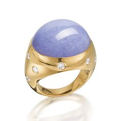 A lavender jadeite and diamond ring