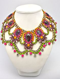 Buenos Aries- One of a Kind Statement Necklace By Doloris Petunia.  Her designs are a innovative blend of color, originality, craftsmanship and the finest materials.  Vintage crystals are hand dyed.