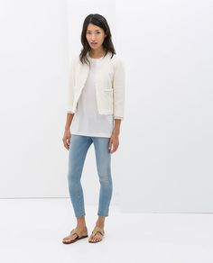 Image 1 of FRAYED STRUCTURED JACKET from Zara