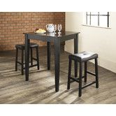Found it at AllModern - Three Piece Pub Dining Set with Tapered Leg Table and Saddle Seat Barstools in Black