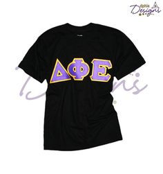 Classic DPhiE Designs Style! Black Tee with gold and purple sewn-on letters