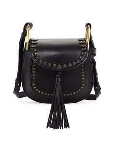 Hudson+Large+Studded+Leather+Saddle+Bag,+Black+by+Chloe+at+Neiman+Marcus.
