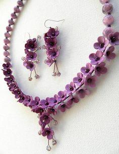 Wedding Jewelry Flower Jewelry Violet Jewelry Set by insoujewelry